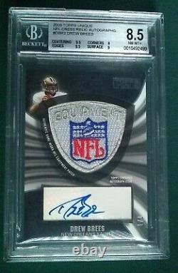 1/1 Topps DREW BREES SAINTS Game Worn/Used NFL Shield Logo Patch Autograph Auto