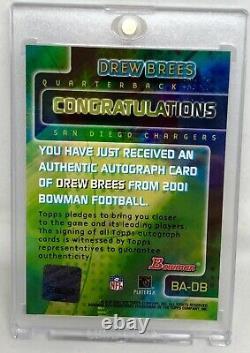 2001 Bowman Rookie Auto Saints Drew Brees Rare Sp