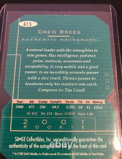 2001 SAGE Hit Drew Brees ROOKIE RC AUTO Die-cut 113/250 #A15