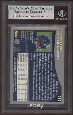 2001 Topps #328 Drew Brees Saints RC Rookie BGS 9 Mint with 10 Subgrade