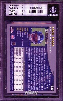 2001 Topps Chrome Drew Brees (Black Refractor /100) HOF Rookie BGS 9 MINT