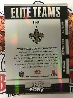 2007 Donruss Elite Drew Brees Reggie Bush McAllister Triple Patch 2/25 3 Color