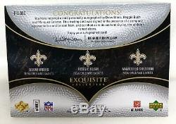 2007 Exquisite Saints Auto Drew Brees Reggie Bush & Marques Colston Sp /20