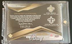 2009 UD Black Drew Brees/Archie Manning Dual Gold On Card Autographs Auto /25 SP