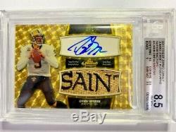 2011 Topps Finest Jumbo Jersey Patch Superfractors Auto Drew Brees #1/1 BGS 8.5