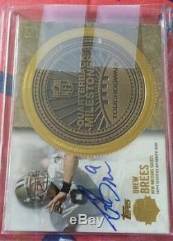 2012 Topps Drew Brees Gold Coin Autograph auto 1/1 QB Milestones for Touchdowns