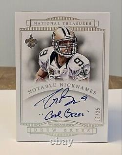 2014 National Treasures Drew Brees Notable Nicknames Auto /25 Cool Brees