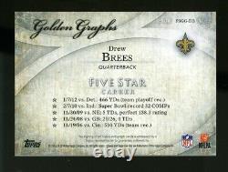 2014 Topps Five Star Golden Graphs DREW BREES Green Auto/Autograph #02/15 Saints