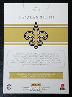 2018 National Treasures Rookie Tre'Quan Smith AUTO PATCH DUAL NFL SHIELD RC 1/1