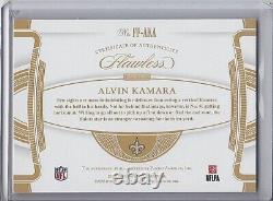 2020 Panini Flawless Flawless Flyers Gold On-Card Auto ALVIN KAMARA 15/15 Saints