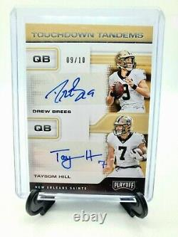 2020 Panini Playoff Drew Brees and Taysom Hill Auto Rare 9/10 Touchdown Tandems