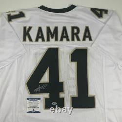 Autographed/Signed ALVIN KAMARA New Orleans White Football Jersey Beckett COA