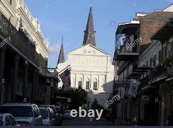 Bourbon St View Of St Louis Cathedral New Orleans Painting By Harold Quistgaard