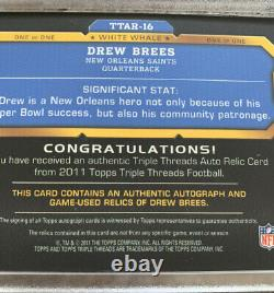 DREW BREES TRUE 1/1 white whale 3-color GAME USED autograph 2011 Topps