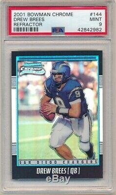 Drew Brees 2001 Bowman Chrome #144 Rc Rookie Refractor Saints #/1999 Psa 9 Mint