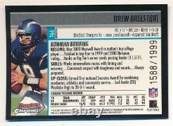 Drew Brees 2001 Bowman Chrome #144 Rc Rookie Refractor Saints Sp #1588/1999