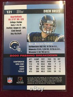 Drew Brees 2001 Bowman's Best Rookie Card RC 920/1499 New Orleans Saints