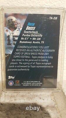 Drew Brees 2001 Topps Rc Rookie Auto Autograph #ta-db Saints Purdue Ssp
