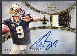 Drew Brees 2013 Topps Five Star Gold 3-color Patch Auto Autograph /40 Saints