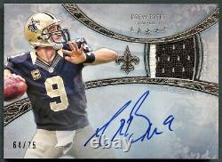 Drew Brees 2013 Topps Five Star Silver 2-color Patch Auto Autograph /75 Saints