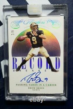 Drew Brees 2020 Update 2019 Flawless Record Breakers Autograph Passing Yards #/5