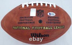 Drew Brees Autographed NFL Leather Football Saints Sb XLIV Mvp Beckett 135085