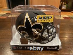 Drew Brees Autographed New Orleans Saints AMP Mini Helmet Beckett & GTSM