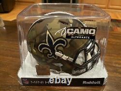 Drew Brees Autographed New Orleans Saints CAMO Mini Helmet Witness Beckett GTSM