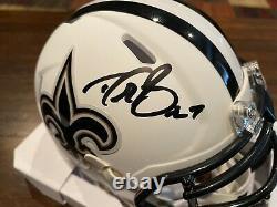 Drew Brees Autographed New Orleans Saints Flat White Mini Helmet Beckett & GTSM