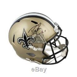 Drew Brees Autographed New Orleans Saints Full-Size Football Helmet BAS COA