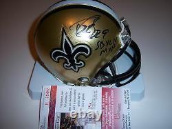 Drew Brees New Orleans Saints, Sbxlii Mvp Jsa/coa Signed Mini Helmet