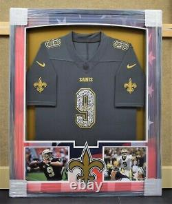 Drew Brees Patriotic New Orleans Saints Jersey Signed Framed Beckett Authentic