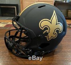Drew Brees Signed New Orleans Saints Eclipse Helmet Passing Leader Beckett
