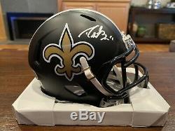 Drew Brees Signed New Orleans Saints Matte Black Mini Helmet Beckett & GTSM