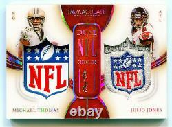 JULIO JONES/MICHAEL THOMAS 2020 Immaculate Dual NFL Logo Shield Jersey Patch 1/1
