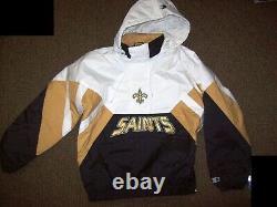 NEW ORLEANS SAINTS Limited Ed NFL Starter Hooded Half Zip Pullover Jacket WHITE