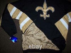 NEW ORLEANS SAINTS NFL Starter Hooded Half Zip Pullover Jacket BLACK & TAN 3XL