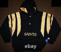 NEW ORLEANS SAINTS Starter Hooded Half Zip Pullover Jacket 4X 5X BLACK w GOLD
