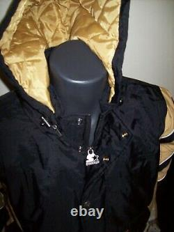 NEW ORLEANS SAINTS Starter Hooded Half Zip Pullover Jacket L XL 2X BLACK w GOLD