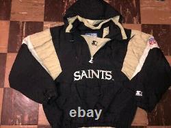 NEW ORLEANS SAINTS Vtg 1990s Hoodie Hood STARTER Pull Over jacket coat jersey L
