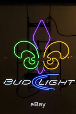 New Orleans Saints Bud Light Fleur de Lis Neon Sign 20x16 Lamp Beer Bar Glass