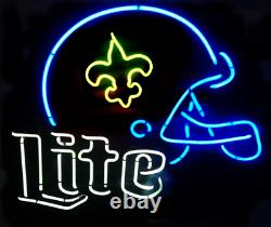 New Orleans Saints Miller Lite Helmet Neon Lamp Sign 20x16 Bar Light Beer