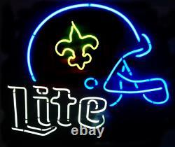 New Orleans Saints Miller Lite Helmet Neon Sign 20x16 Light Lamp Beer Glass