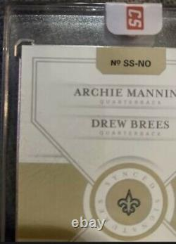 ON CARD Drew Brees Archie Manning Dual Auto 2019 National Treasures 07/25 Saints