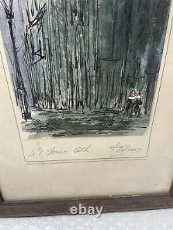 PAIR OF TOM LANE New Orleans WATERCOLOR SIGNED ANTOINE'S ST JOHNS CATHEDRAL