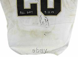 Saints Adrian Peterson 3x Insc Signed Game Used White Nike Jersey BAS Witnessed