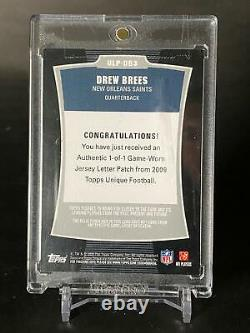 Topps Drew Brees COMPLETE NAMEPLATE LETTERS ALL TRUE 1/1 GAME WORN Saints