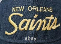 Vintage 90s New Orleans saints Sports Specialties Script black Wool Snapback Hat
