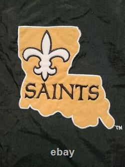 Vintage Mens Starter New Orleans Saints 3/4 Pullover Jacket Size Large-Black