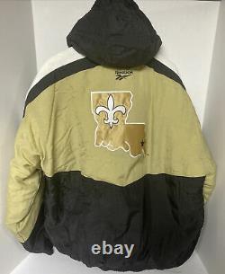 Vintage New Orleans Saints Pro Line Reebok Pull Over Winter Jacket Coat NFL XL